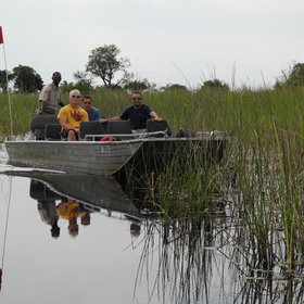 In deep-water areas, motor boats trips explore papyrus-fringed channels.