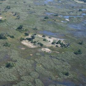 ...and enjoy spectacular aerial views over the Okavango Delta.