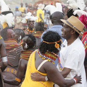 …and the performance becomes a dance for everyone, including Turkana in western dress.