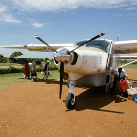 Planes land at bush airstrips around the reserve, dropping and collecting passengers.