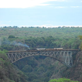 ...with the famous old bridge, spanning the mighty Zambezi, forming a centre piece