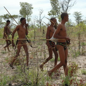 The San Bushmen continue to use traditional skills to survive in their harsh environment