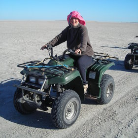Venture to the Great Salt Pans to explore by quad bike.