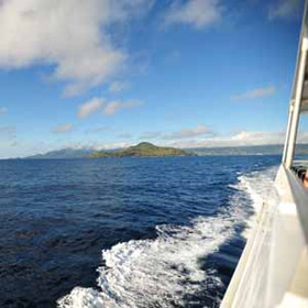 You can take a ferry between Mahe, Praslin and La Digue islands...