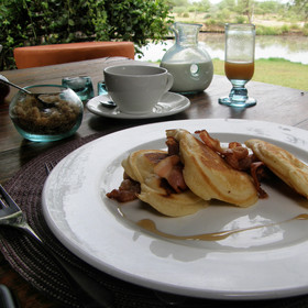 Theres usually a few tasty choices, like these drop scones with bacon and syrup for breakfast...
