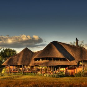 The thatched open sided Chobe Savanna Lodge allows expansive views over the Chobe River