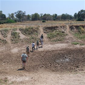 In the dry season, the Chikoko Channel is dry - with the occasional pool of water
