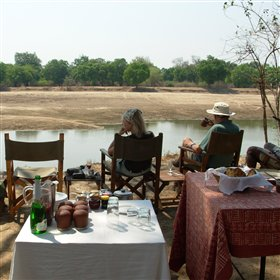 Kaingo will sometimes arrange breakfast out in the bush, perhaps overlooking the river...