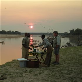 The Luangwa River provides the perfect location for a sundowner to round off the day with