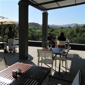 ...alfresco dining and drinks with a view over the rolling hills of Klein Windhoek.