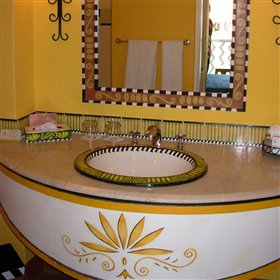 The en-suite bathrooms have all mod-cons and are bright and cheerful.