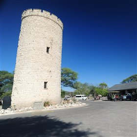 This is the old tower at the heart of Okaukuejo Camp, in Etosha National Park.