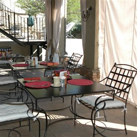 Delicious lunches and dinners are served on the verandah...