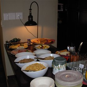 Breakfast is included in the accommodation cost with cold or hot dish options.