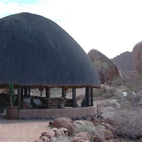 Mowani Mountain Camp is set amoungst large granite boulders in a picturesque area of Damaraland.