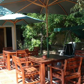 The patio offers a lovely shaded area...