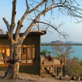 Pumalani Beach Lodge overlooks Lake Malawi.
