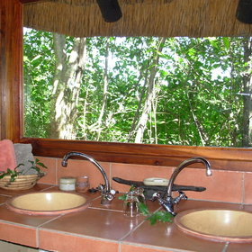 His and hers wash basins with a view of the bush.