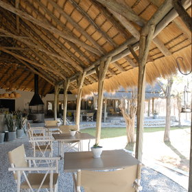 ...as well as a thatched dining area.