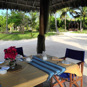 You can dine virtually anywhere on the property, a great spot is on the beach.