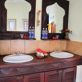 Each villa has a spacious bathroom...