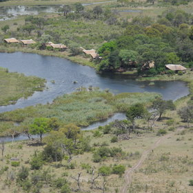 Lagoon Camp is spread along the bank of the Kwando River.