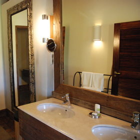 Each chalet includes an en-suite shower and bathroom.