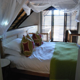 The honeymoon suites are a split-level design with a double bedroom upstairs...