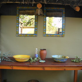 The basins are made of local pottery and designed by Desiree - the owner.