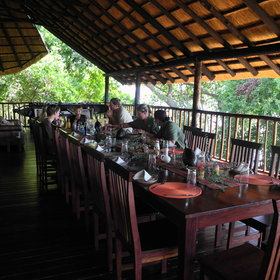 ... and served around a large communal table, with views over the Zambezi.