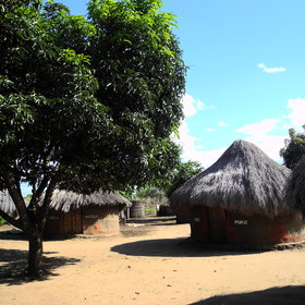 Accommodation is in traditional African huts...