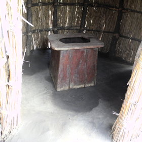 The toilet is in a thatched hut.