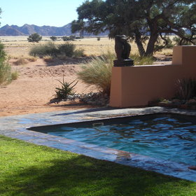The plunge pool area provides an opportunity to cool down from the heat …