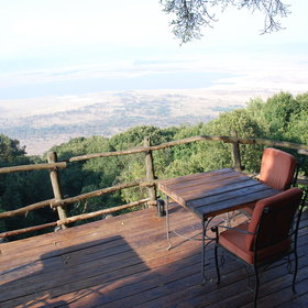 The wooden decks overlook the world famous Ngorongoro Crater - quite a spectacle!