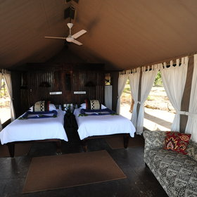 The chalets are comfortable and each has a ceiling fan and solid flooring covered by rugs.