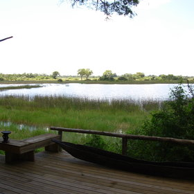 The rooms and main areas at Vumbura Plains all overlook the floodplains of the Okavango...
