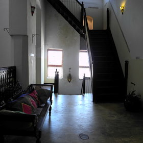 Traditional Zanzibari staircases lead to 22 guest rooms...