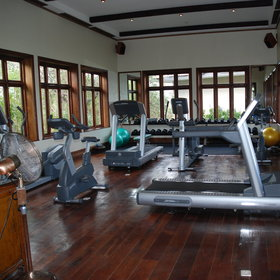 There is a very impressive gym area for guests to enjoy - all high tech here!