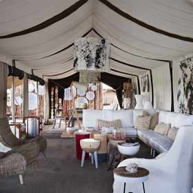 The main tent offers a comfortable lounge area...