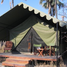 There are ten walk-in tents set on wooden decks...