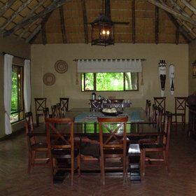 The dining room is to the right of the lounge. Meals are eaten either individually or as a group.