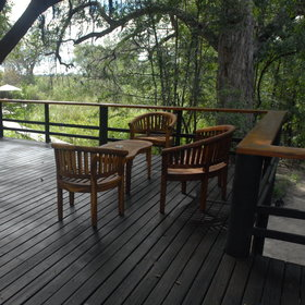 Outside is a veranda overlooking the Xakanaxa Lagoon...