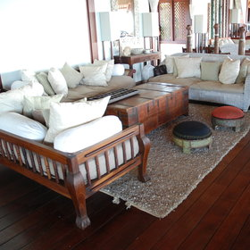 The main house is set on the north side of the island. It has an ocean-facing lounge...