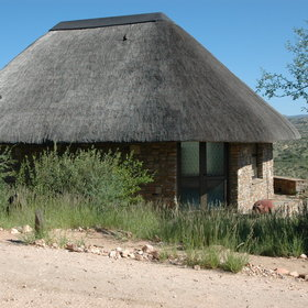 The thatched chalets …