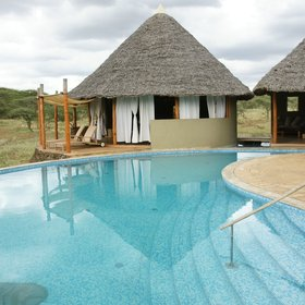 Severin Safari Camp, in the heart of Tsavo West National Park, has a good-sized swimming pool.