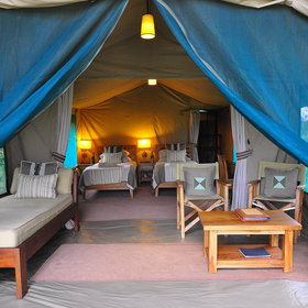 The tents are traditional, with no permanent structures incorporated.