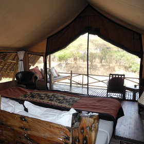The eight large tented suites look out over the Ruaha National Park.