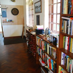 …library and darts area…