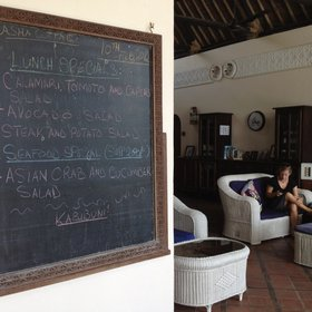 Daily specials are chalked up in the lounge…