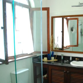 Bathrooms are modern and smartly furnished…
